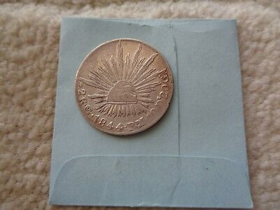 1844 Go PM Mexico 2 Real Silver coin Better condition