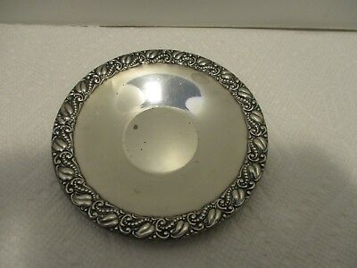 Tray / Saucer Sterling Silver 4 1/8 inches wide Foliage Scrolls Border 6546
