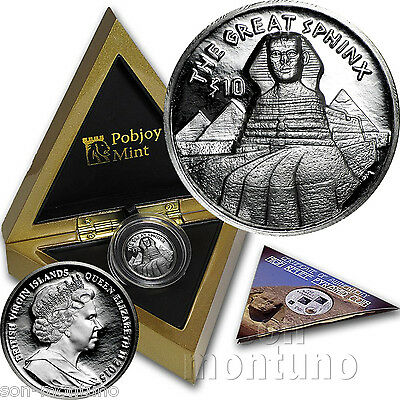 GREAT SPHINX High Relief Silver Coin - 2015 British Virgin Islands EGYPT PYRAMID
