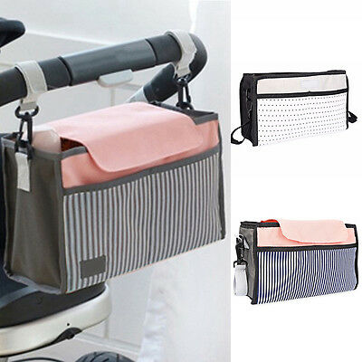 US Portable Baby Cart Strollers Bag Organizer Basket Canvas Pushchair Cup Bag HQ