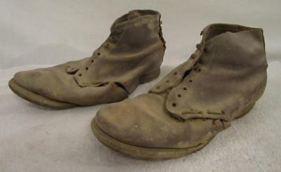 DESTROYED VINTAGE 1930's - 40's FARM WORK BOOTS FOR DISPLAY