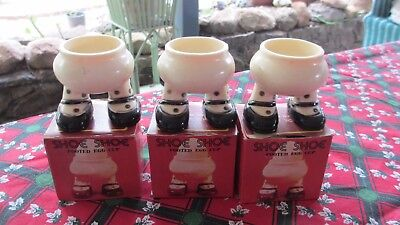 3 x Vintage Egg Cups on Legs still in original boxes,unused!!!!Amazing!!