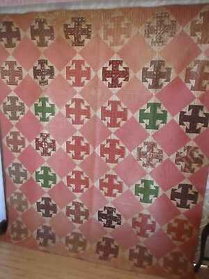 "Hand Pieced Quilt w/Pattern of ""T""'s Reds, Greens, Brown, Made In Maine, Vintage"