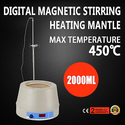 2000ml Electric Digital LCD Magnetic Stirring Heating Mantle Flame Evenness