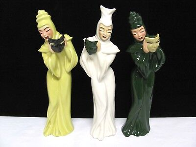 3 Vintage Ceramic Arts COMEDY TRAGEDY Woman Mask Figurine SET/Lot Nice! Signed