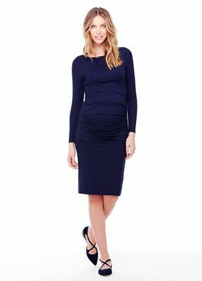 New Ingrid & Isabel Maternity Long Sleeve, Sexy Pleated Navy Fitted Dress S 4 6