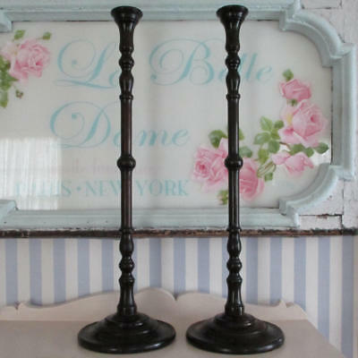 """Pr Antique Tall 24"""" MAHOGANY Turned Wood CANDLESTICKS w Brass Candle Cup Inserts"""
