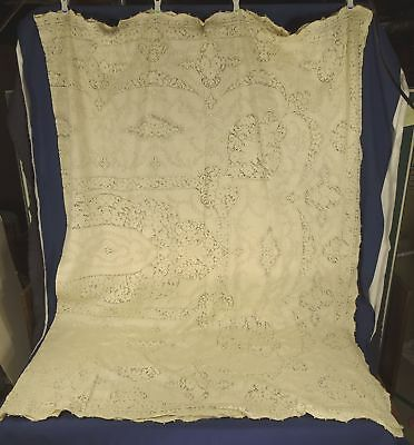 Antique Lace Tablecloth w/ Cutwork & Drawnwork, Floral + Flower Baskets 104 x 88