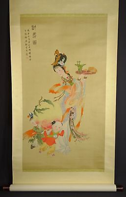 ANTIQUE or VINTAGE Chinese Scroll Painting WOMAN & CHILDREN with PEACH - Lot N
