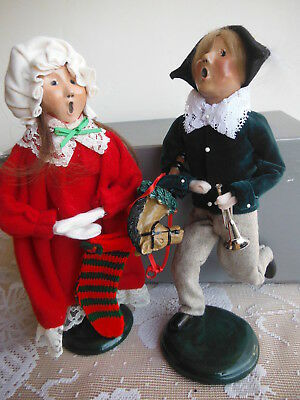 """BYERS CHOICE 2 CAROLERS - FRITZ 2nd Edition 1995 + GIRL w/ STOCKING 1985 - 10"""""""