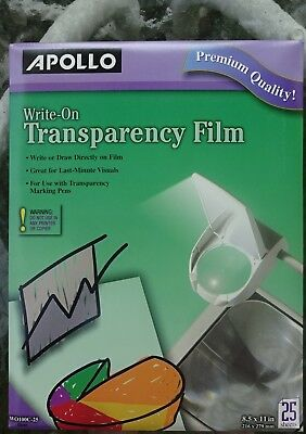 """Apollo Write-On Transparency Film 8.5"""" x 11"""" Clear 25 Sheets per Pack NEW"""