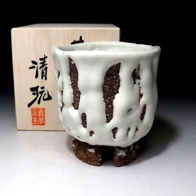 CF3: Japanese Large Pottery tea cup, Hagi Ware by Famous potter, Seigan Yamane