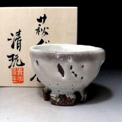 CE9: Japanese Sake cup, Hagi ware by Famous Potter, Seigan Yamane, White Glaze