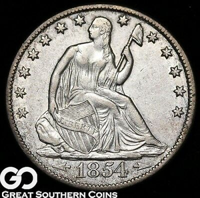 1854-O Seated Liberty Half Dollar, ARROWS, Choice AU Better Date, Free Shipping!