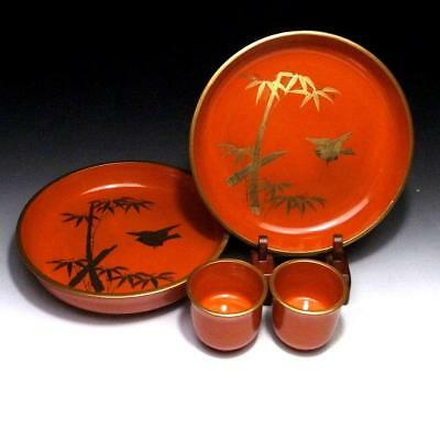 BQ7: Vintage Japanese Lacquered Wooden Tea Plates & Sake cups, Gold MAKIE