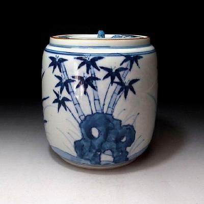 BH1: Japanese Hand-painted Tea Ceremony Mizusashi, Water Container, Kyo ware