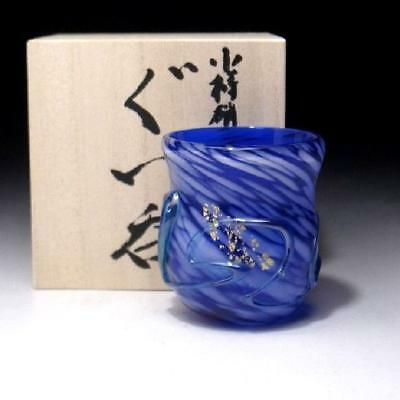 CC2: Japanese Hand-blown Glass Sake cup of Otaru Glass Ware, North ocean
