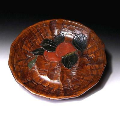 VN1: Japanese Lacquered Wooden tea plate, Sanuki woodcarving work, 12.6 inches