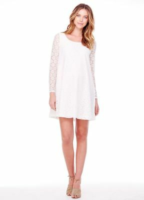 New Ingrid & Isabel Maternity White Stretch Polka Dot Lace Skater Dress S 4 6