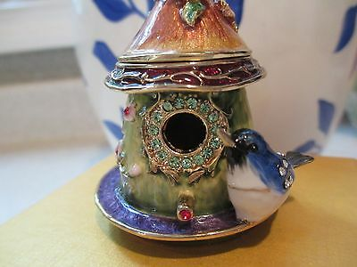 Blue Bird  Bird House ~ Bejeweled Enamel Trinket Box  #3343
