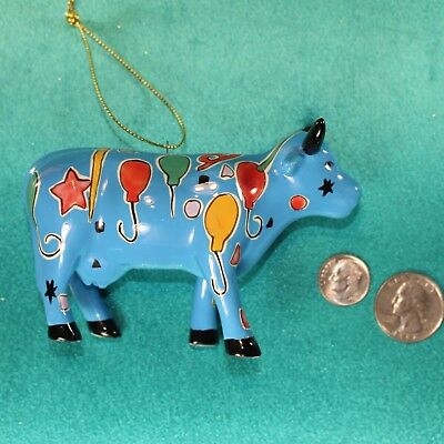 COW PARADE Painted Party Cow Porcelain Figurine Christmas Ornament Balloons Retd
