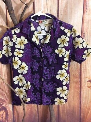 Hattie Hilo Women's Purple With White Hibiscus Panels Hawaiian Shirt Size Large
