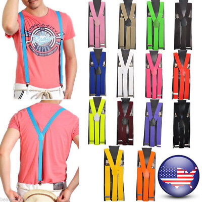 US Women Men Clip-on Elastic Suspenders Y-Shape Adjustable Braces Solids Straps