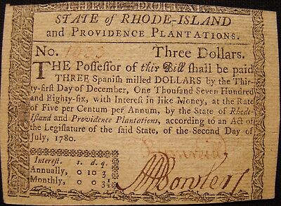 1780 State Of Rhode Island $3.00 Bill Signed By Metcalf Bowler. Us Revolution