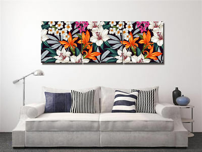 """Colorful Flower Leaf Wall Art Picture Home Decor Canvas Print Painting16x16""""x3pc"""