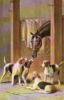 VINTAGE NISTER postcard of HORSE & FOXHOUND DOGS Reichart 1908