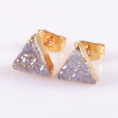 8mm Triangle Natural Agate Druzy Titanium AB Stud Earrings Gold Plated H105524