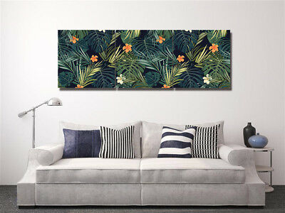 """Tropical Green Leaf Wall Art Picture Home Decor Canvas Print Painting 16x16""""x3pc"""