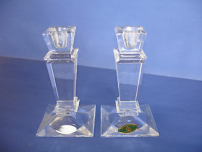 Pair Honour Crystal Candlesticks made  in Slovakia ~ over 24% Lead Crystal