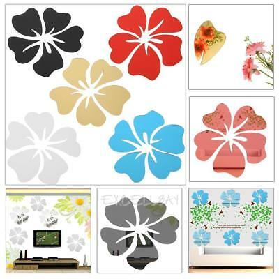 5 Mirror Flower Wall Sticker DIY 3D Acrylic Mural Decal Bed Room Decor Removable
