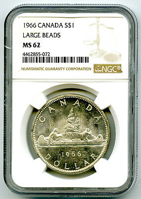 1966 $1 Canada Silver Dollar Ngc Ms62 Large Beads Voyageur - Ms Uncirculated