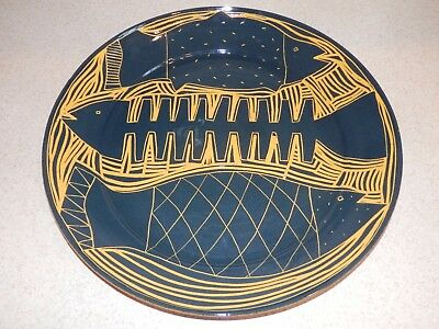 Wonderful Large Contemporary Redware Charger 3 Fish Design Artist Signed Cohen