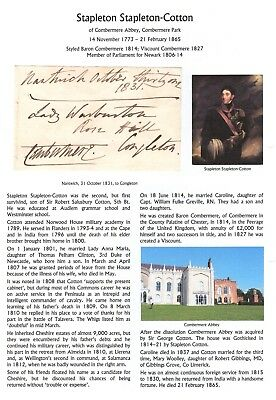 GB Free Front 1831 signed Combermere, Baron, Stapleton Cotton, with research