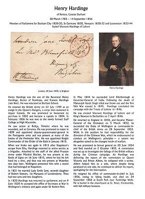 GB Free Front 1839 signed H Hardinge, Viscount, MP Newport et al, with research