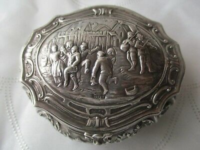 ATQ.925 Sterling  High Relief Repousse Musicians Dancers Pill Snuff Trinket Box
