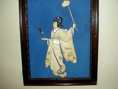 Antique Carved Japanese Girl Playing Shuttlecock  BADMINTON