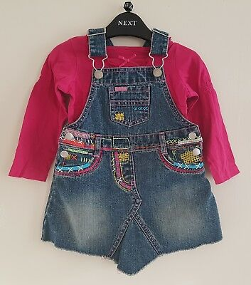 Girls Denim Dress & Top Outfit From M&s. Age 12-18 Mths. Excellent Condition!