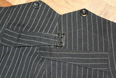 1940s Mens Trousers pinstriped Button fly W32  L 31 Vintage buckle back fishtail
