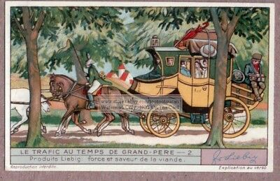 Horse Drawn Carriage Colorful c80 Year Old Trade Ad  Card