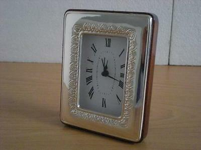 SOLID STERLING SILVER TABLE ALARM CLOCK 6×9 *1015GB new