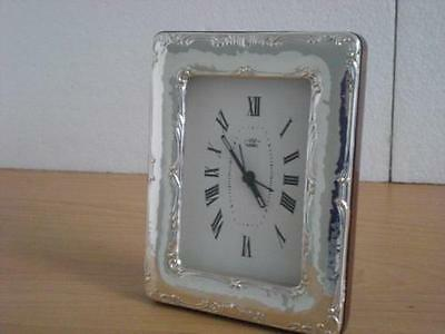 SOLID STERLING SILVER TABLE ALARM CLOCK 6×9 *nuova GB new