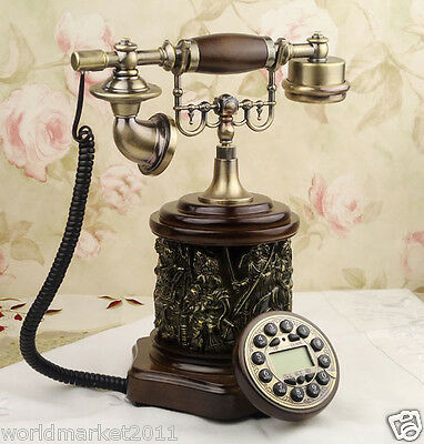 European Archaized Multi-Function Resin +Solid Wood Collectable Dial Telephone