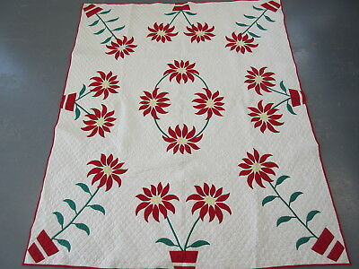 Beautiful Antique Applique Christmas Quilt Poinsettia Red Green White