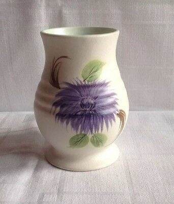 E RADFORD ART DECO VASE HAND PAINTED WITH A PURPLE  ? ASTER PATTERN C1930s