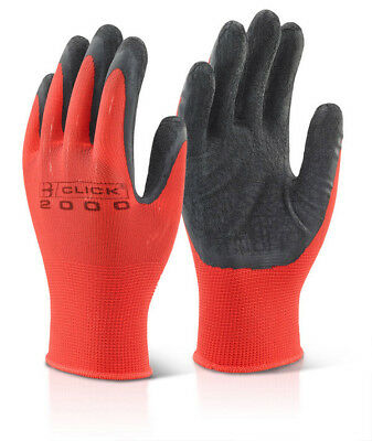 100x Pairs Click Latex Rubber Coated Polyester Grip Gripper Work Safety Gloves
