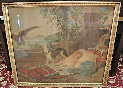 """1800s ANTIQUE Victorian Color Art Print DOG PROTECTING SLEEPING BABY Framed 25"""""""